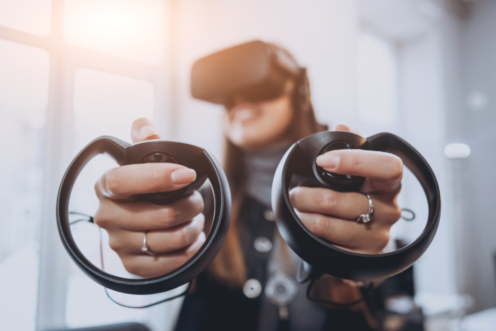 oculus rift woman playing oculus rift unusual gifts