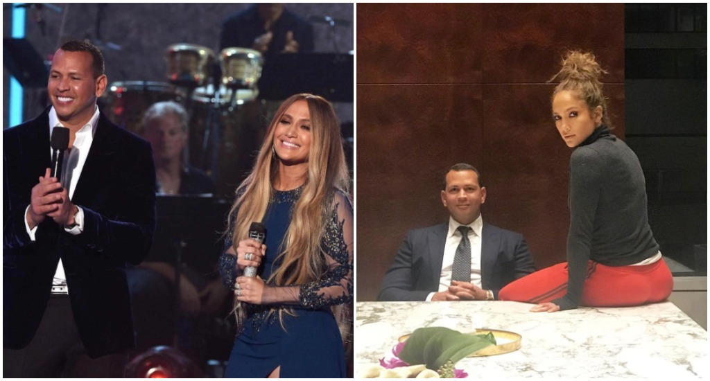 Alex Rodriguez and Jennifer Lopez being cute together.
