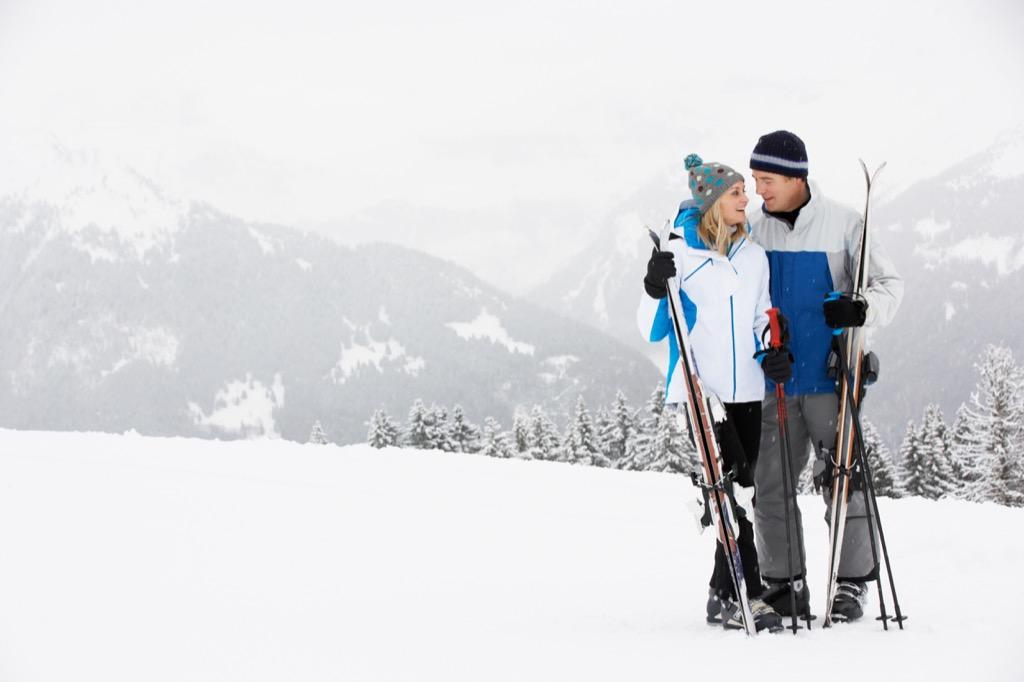couple skiing, hobbies