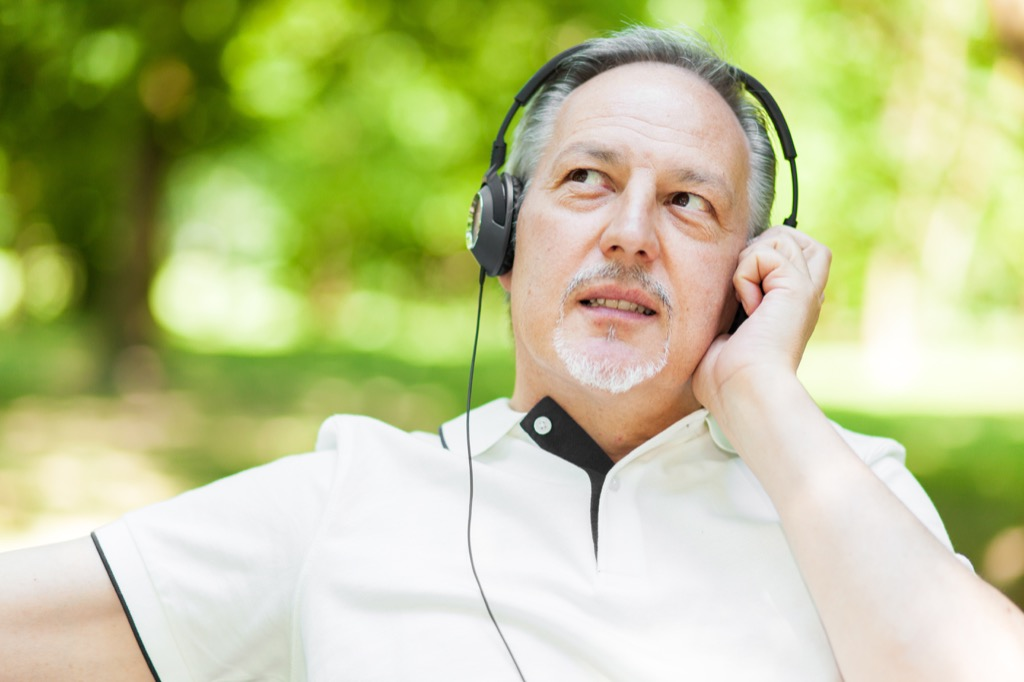 old man listening to music, things old people say