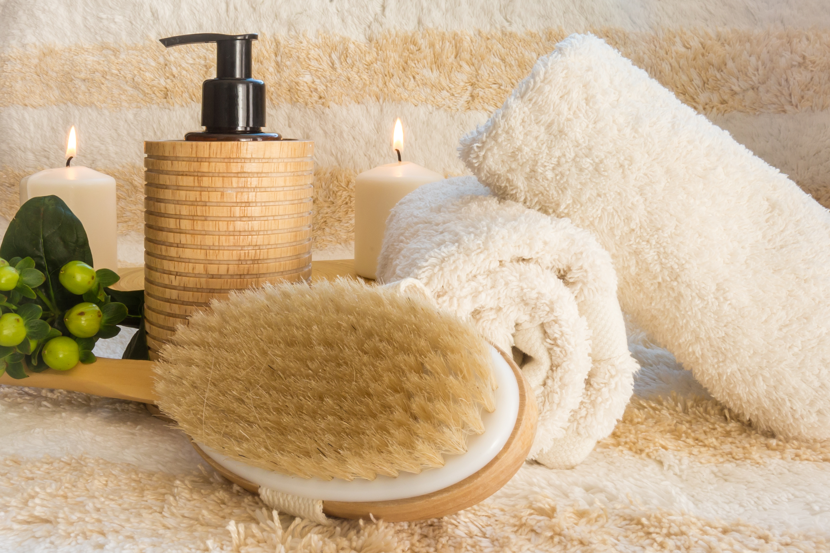 show brush and candles, healthy skin after 40