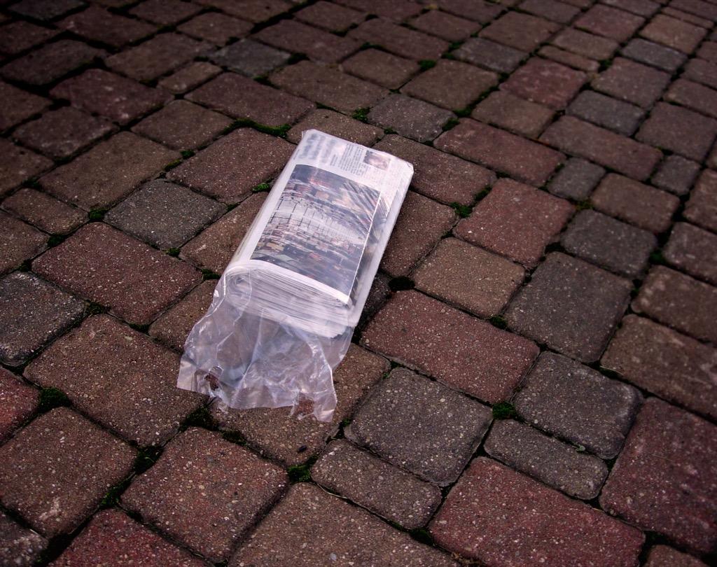 Newspaper on doorstep