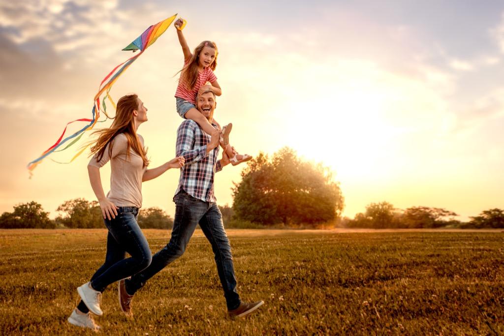 Family Flying Kite Parenting