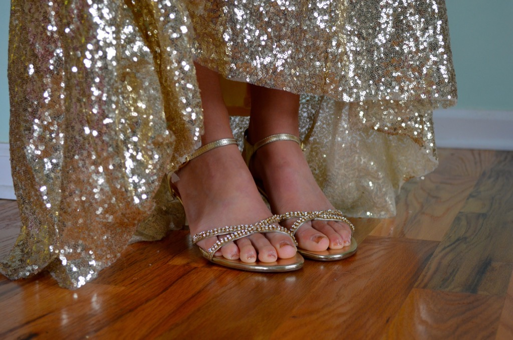 glittery gold dress and gold shoes - how to dress over 50