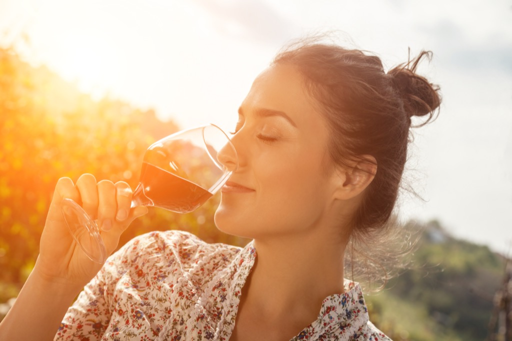 woman drinking wine stress stressed out