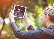 woman man ipad talking, long-distance date ideas