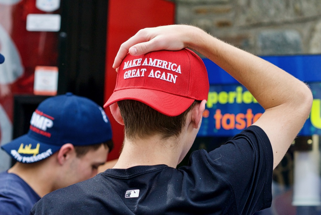 MAGA hat, not okay to wear to work.