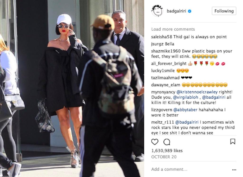 Rihanna Instagram post, showing off her great street-style sense.