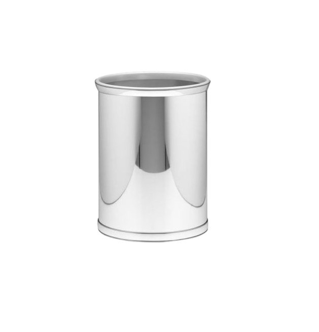 Slick chrome trash can, a stylish home upgrade.