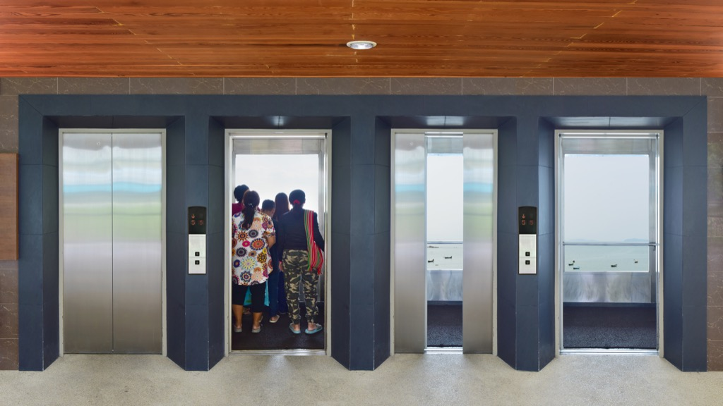 elevators facing the same way