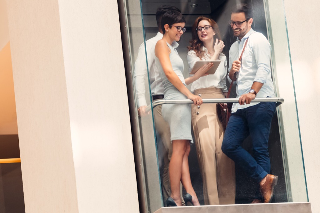 elevator etiquette conversation sandwich
