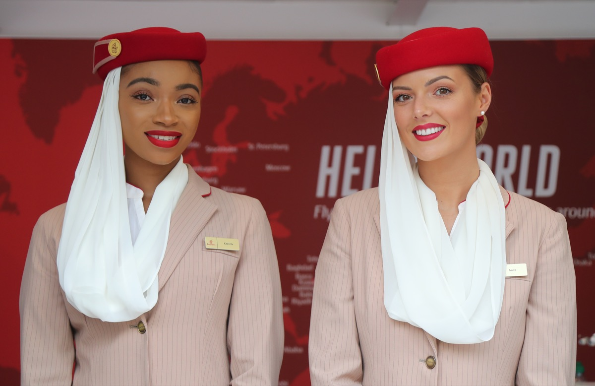 flight attendants from Emirates smiling