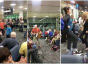 musicians at newfoundland airport have a dance party