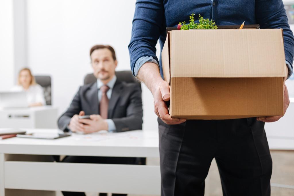 Man leaving office