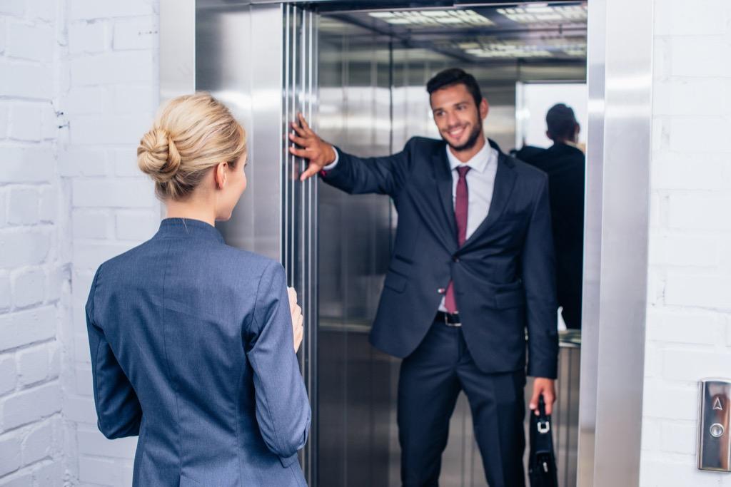 elevator etiquette holding door