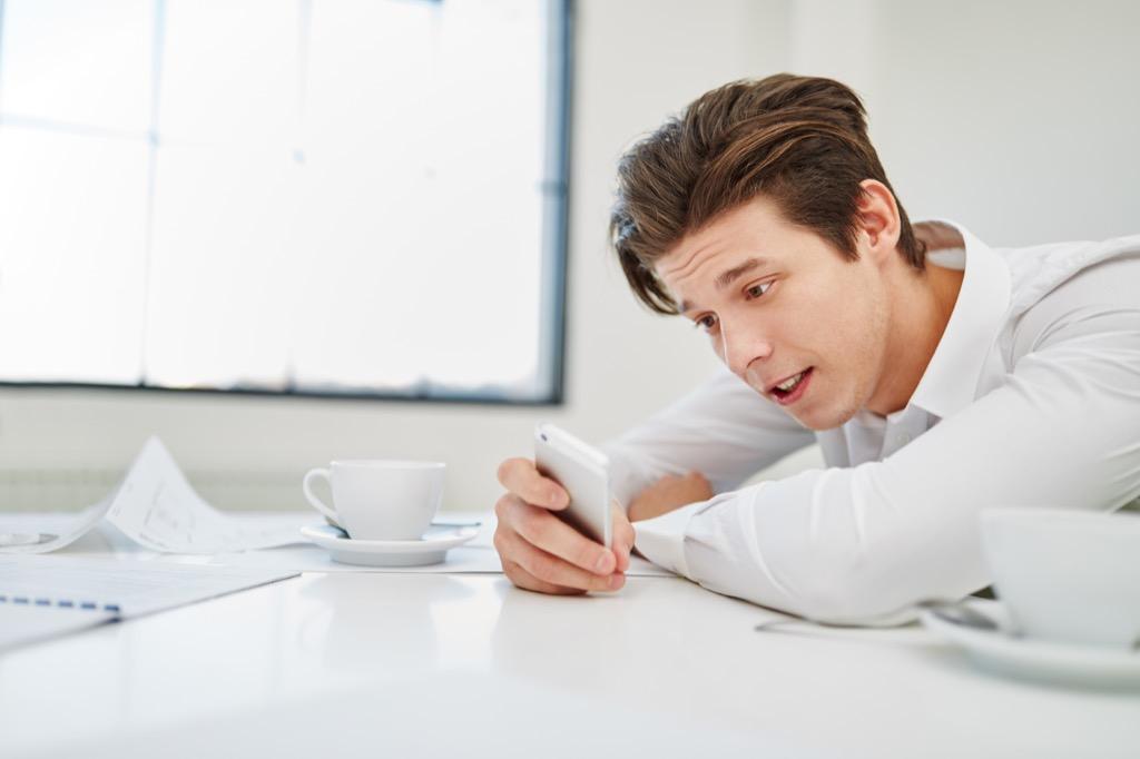 Man on phone at work