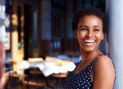 woman smiling happy teeth