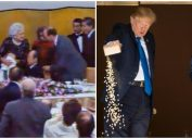 Bush throwing up and Trump throwing out his carp food.