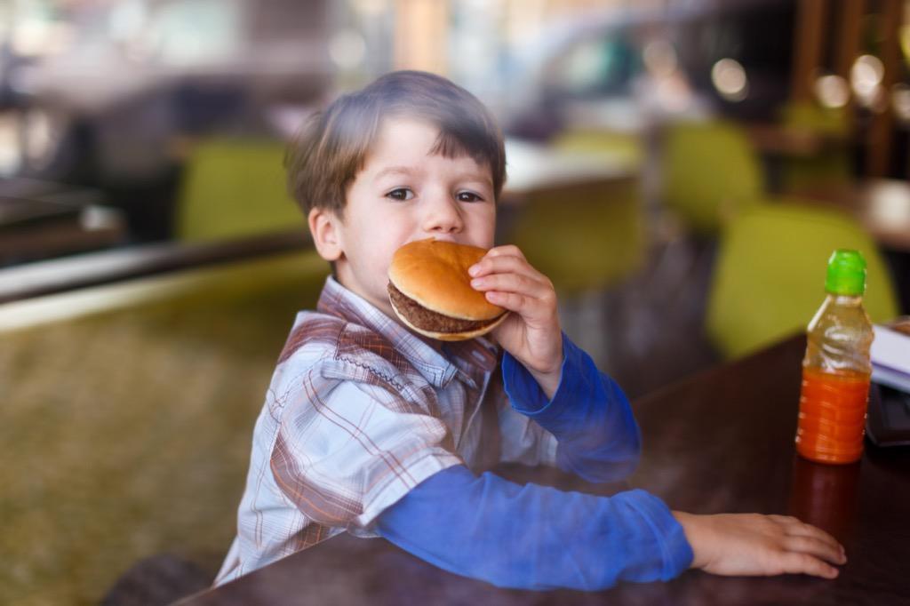 Kid Eating Hamburger Parenting