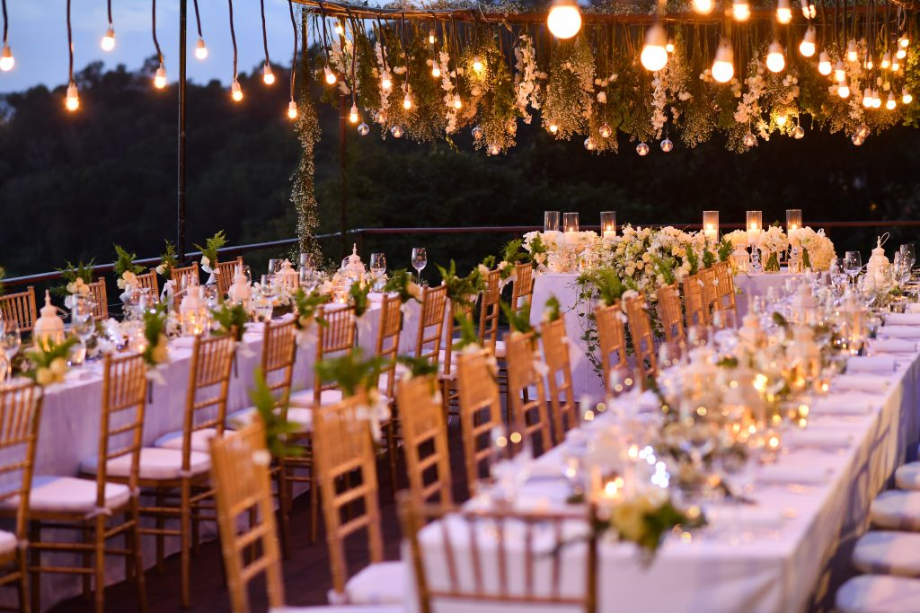 wedding table set at dusk