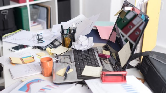 being lazy can lead to cluttered work spaces