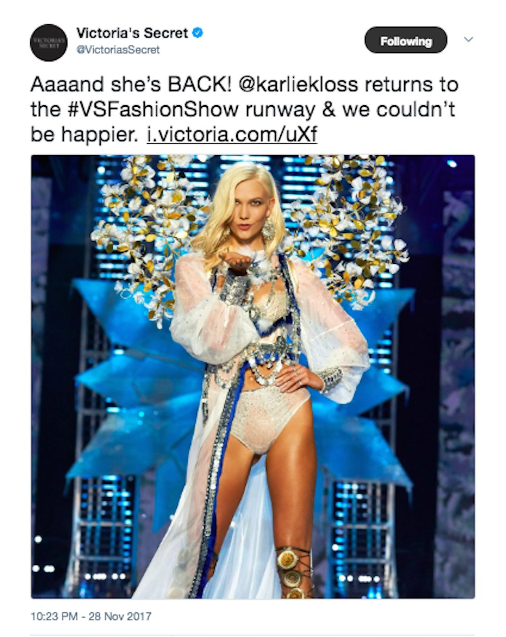 Karlie Kloss at the Victorias Secret Fashion Show