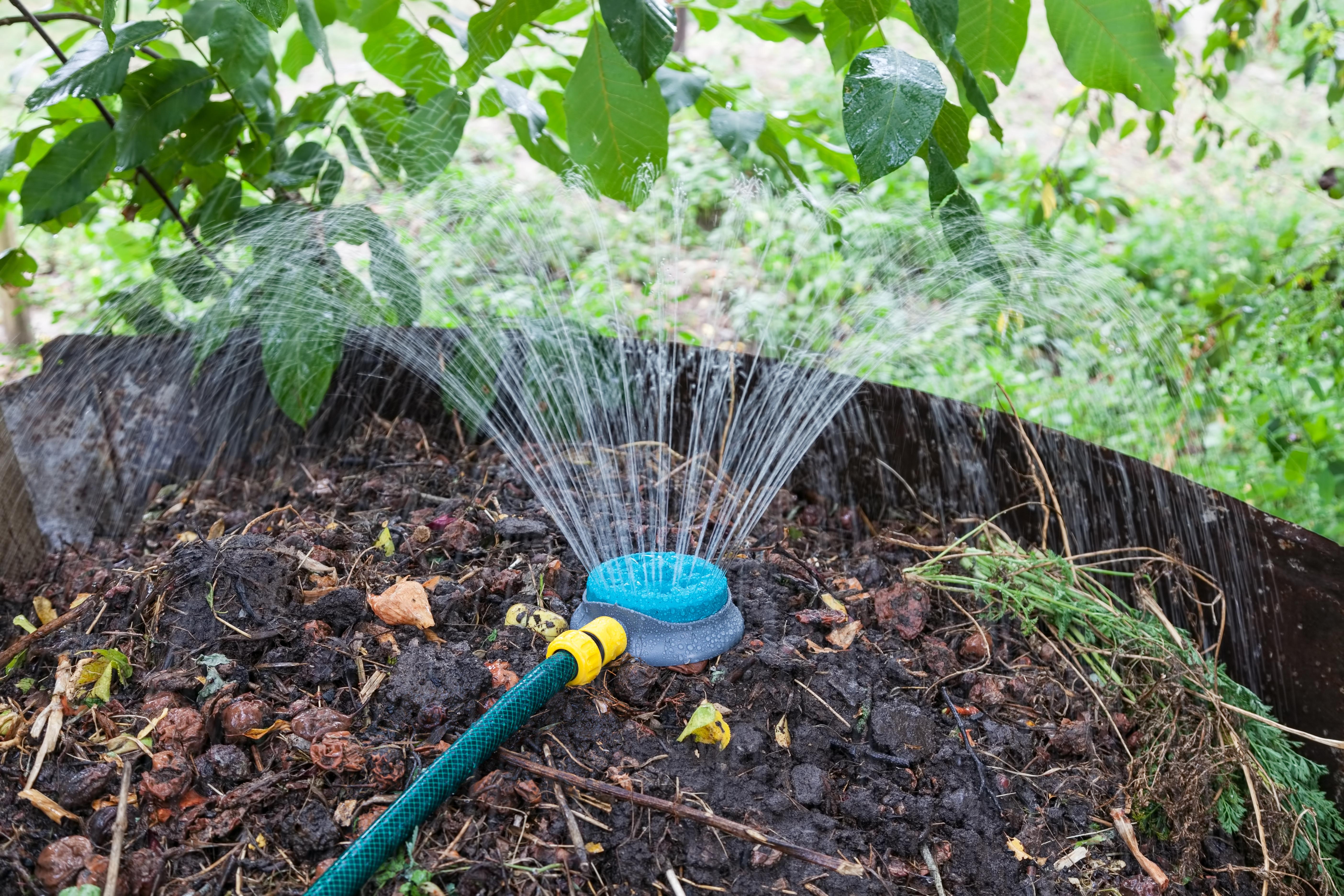 Watering garden soil