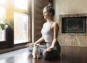 healthy cat and woman doing yoga meditation, increase home value
