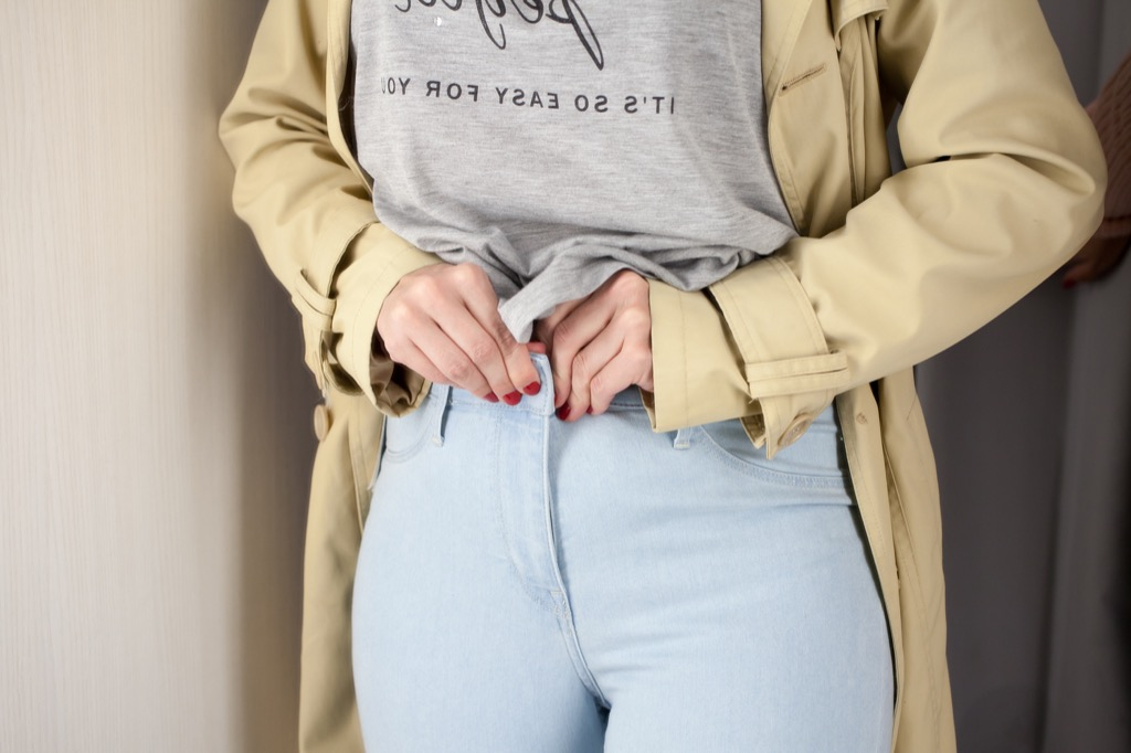 woman trying on pants things no husband wants to hear