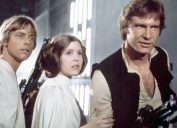carrie fisher, harrison ford, mark hamill in the original star wars trilogy