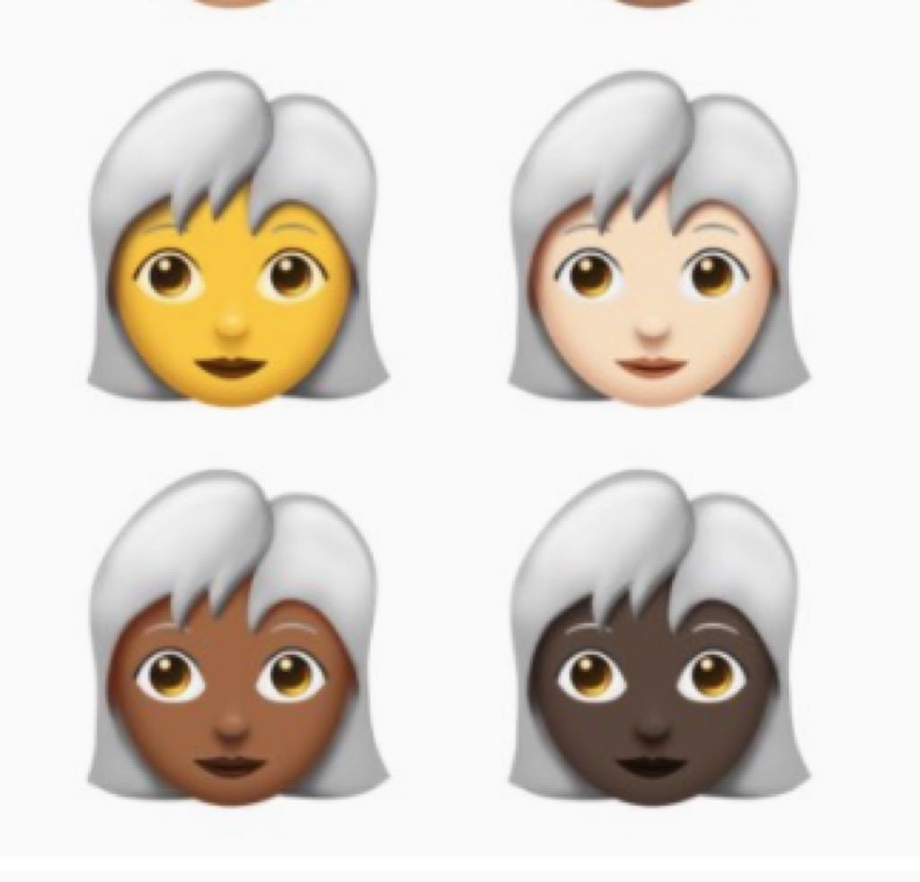 white-haired people emoji