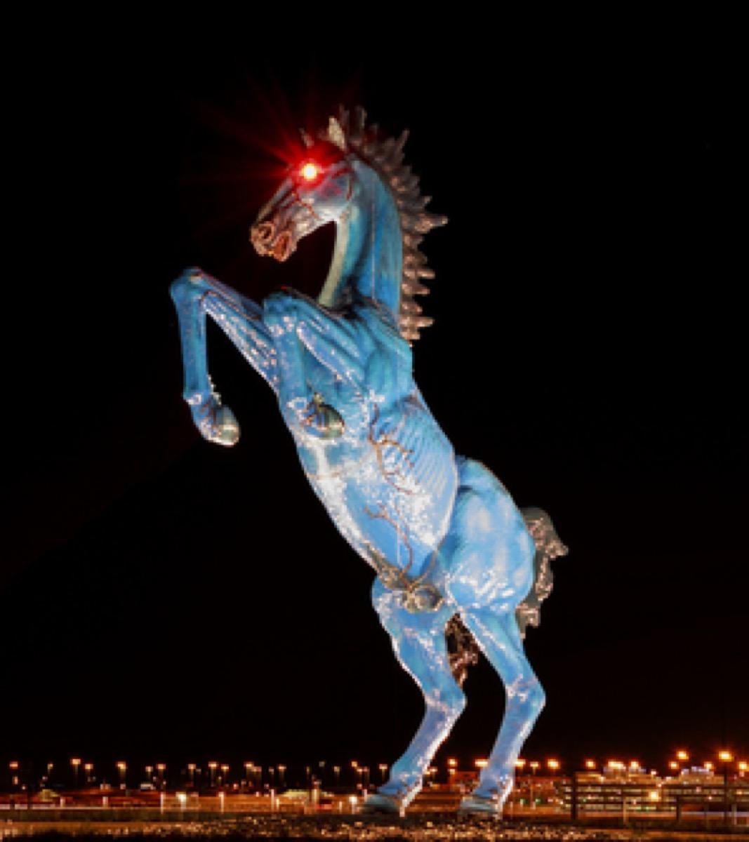 blue mustang statue
