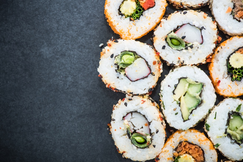 california roll healthiest holiday finger foods