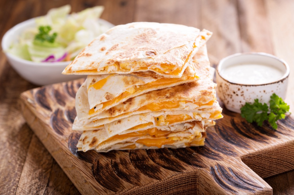 cheese quesadilla unhealthiest holiday finger foods