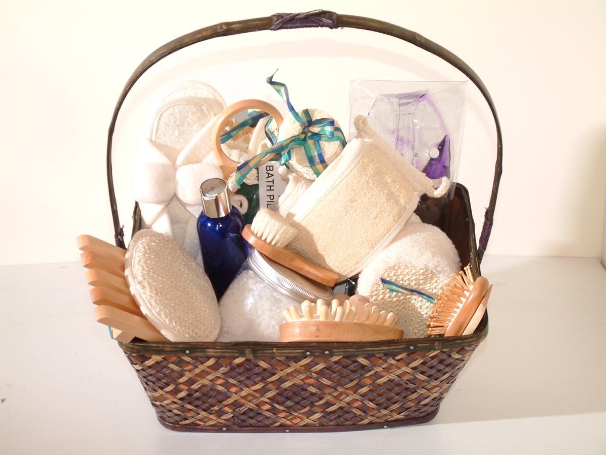 gift basket of bath items