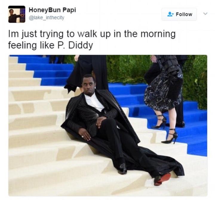 p diddy met gala stairs biggest memes 2017