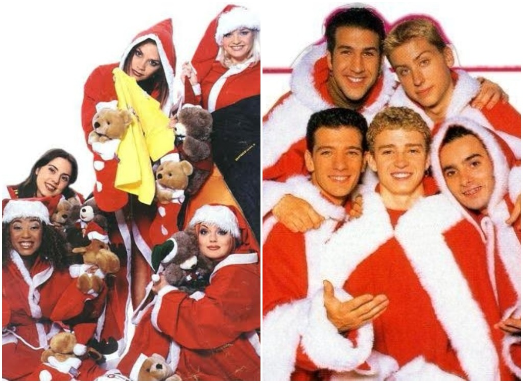 nsync and spice girls in santa suits