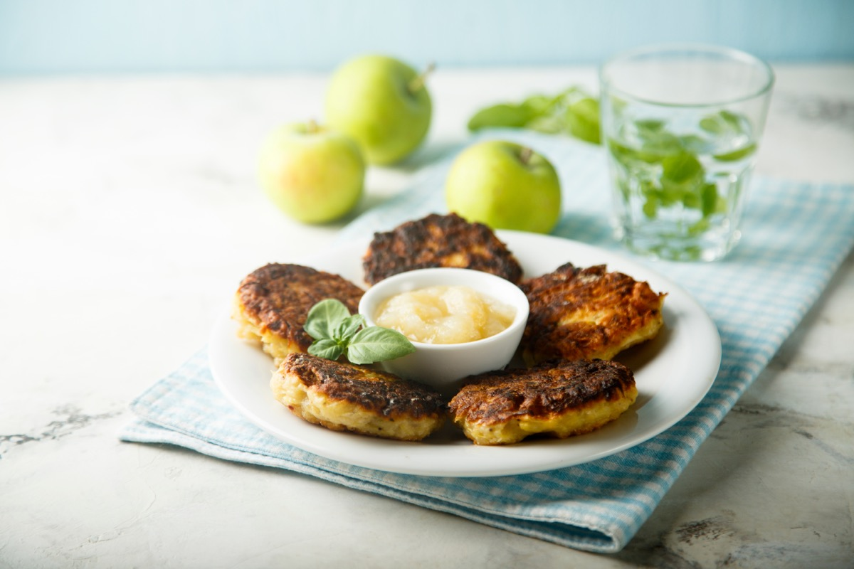 potato latkes with applesauce - hanukkah