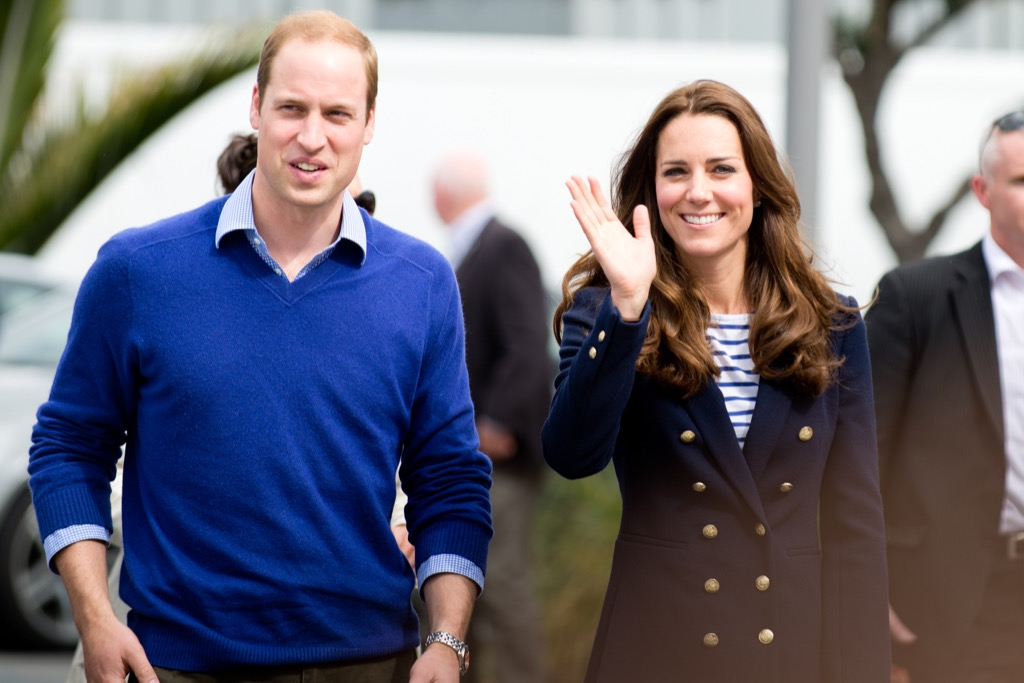 prince william and kate middleton smile and wave