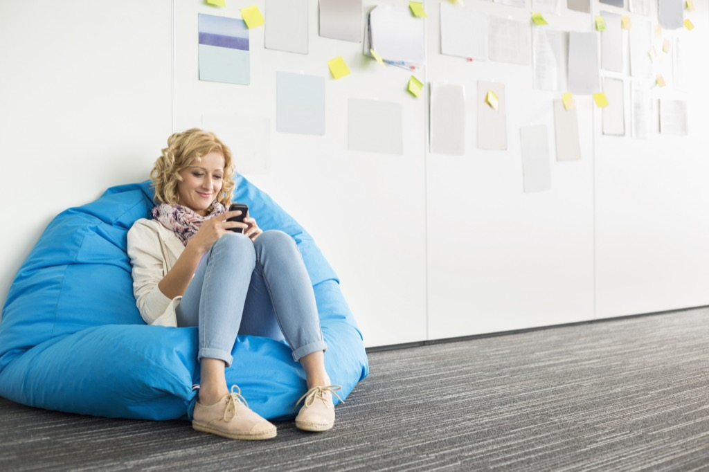 no woman over 40 should have a bean bag chair in her apartment