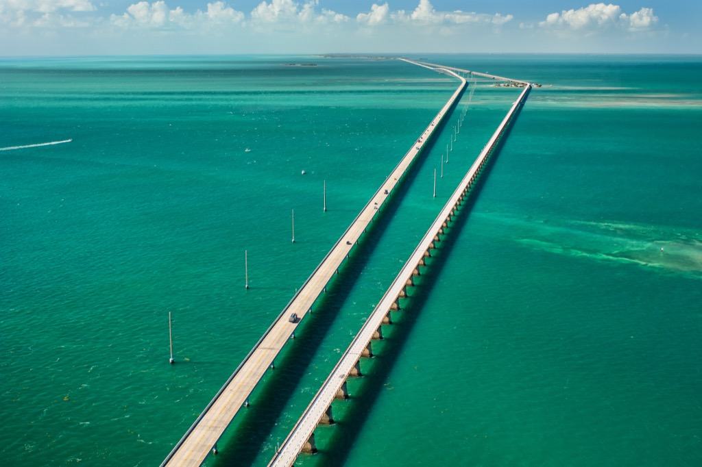 two highways stretch over a bay in key west