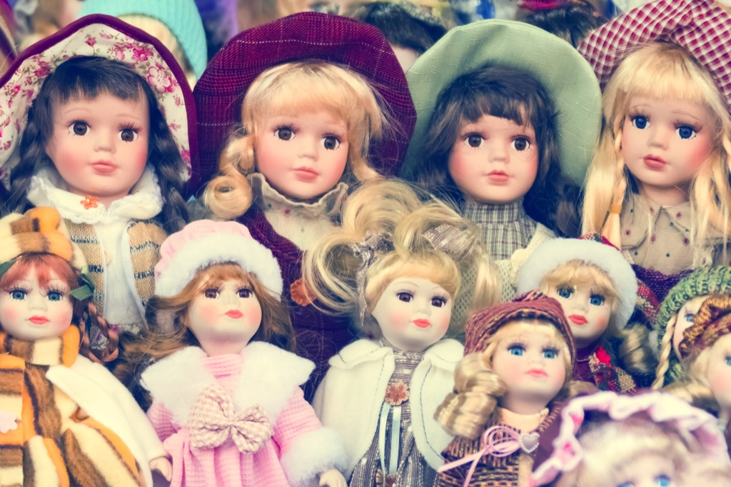 no woman over 40 should have anantique doll collection in her apartment