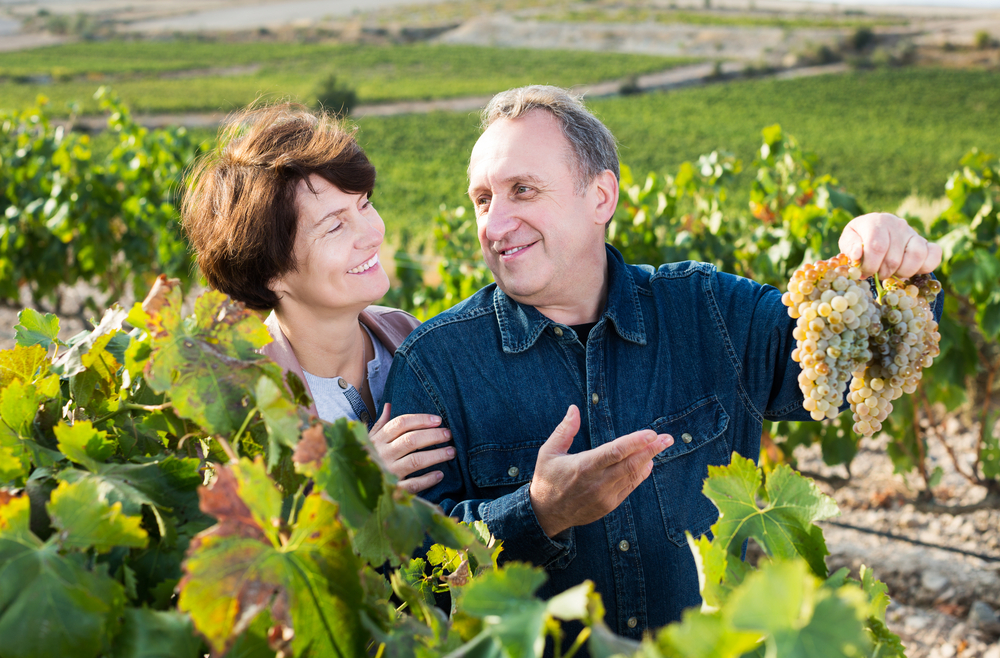 old happy man holds up grapes to woman.