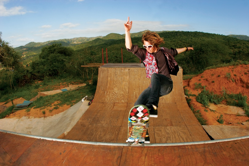 young man on a skateboard ramp