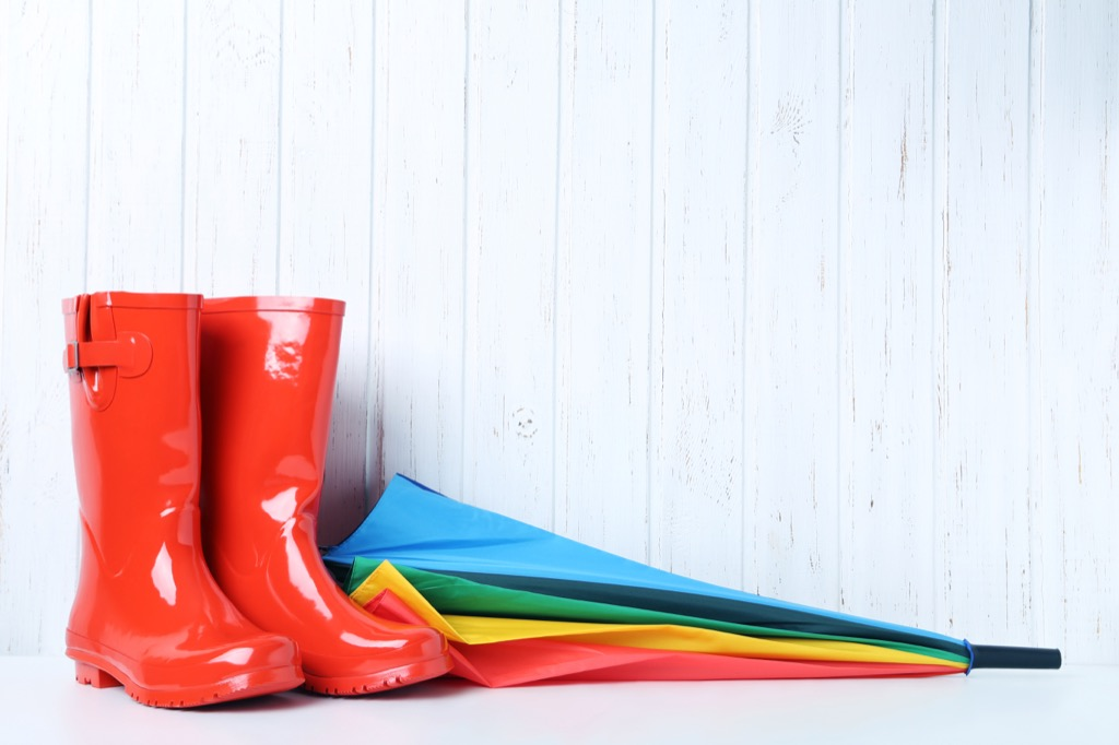 red rain boots and an umbrella