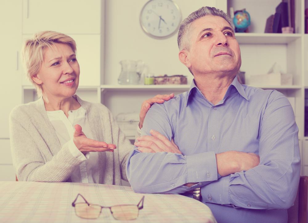 stubborn old man refuses to listen to reasonable wife.
