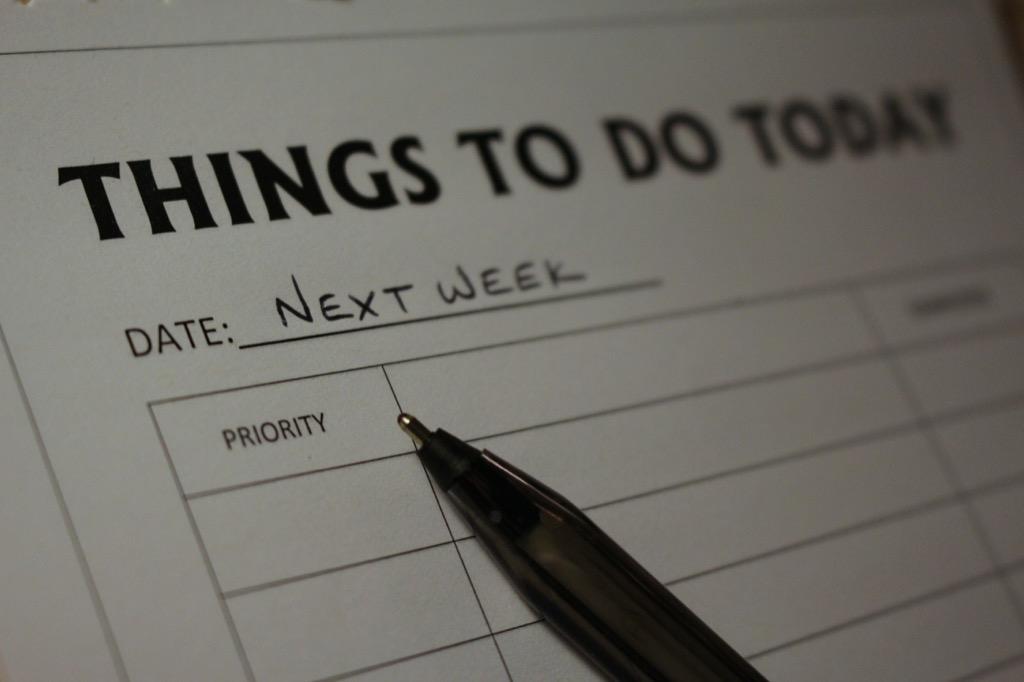 next week to-do list Organized