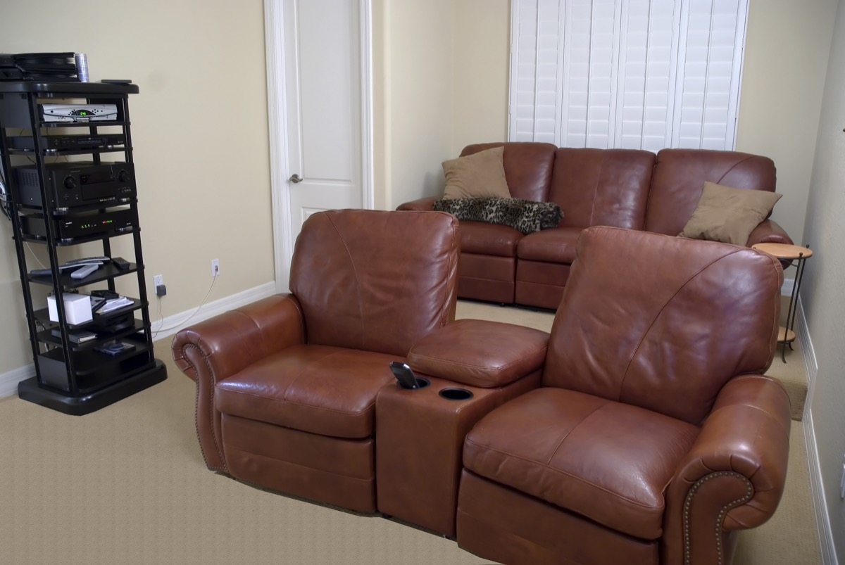 two-seat burgundy recliners with cup holders