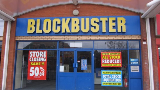 blockbuster with a store closing sign
