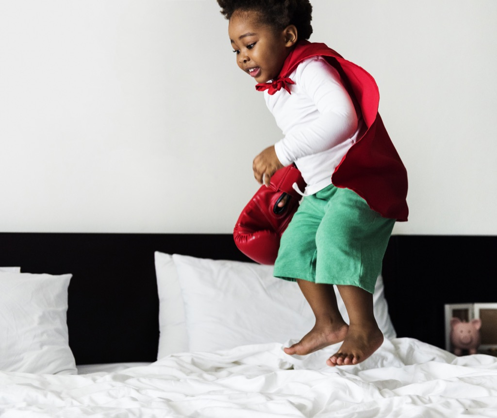 Kid jumping on bed, things that annoy grandparents